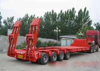 Low-bed Semi Trailer Truck 3 Axles 70Tons 17m for Loading construction machine