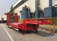 China Loading Construction Machines Hydraulic Flatbed Trailer 3 Axles 80 Tons 17m factory