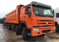 Orange Sinotruk Howo Dump Truck 371 HP 12 Wheels LHD High Loading Capacity