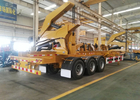 Yellow 40ft Truck Mounted Crane 3 Axle Self Loading Container Truck Trailer