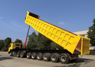 3 Axles Tipping Semi Trailer Truck For Mining And Construction 60-80 Tons