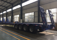 Hydraulic Flatbed Semi Trailer Truck 4 Axles 50-80 Tons Loading Capacity