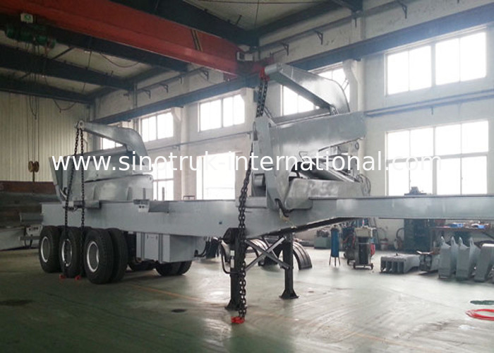 37 Tons Container Side Loader Truck Mounted Crane 3 Axles Semi Trailer Truck