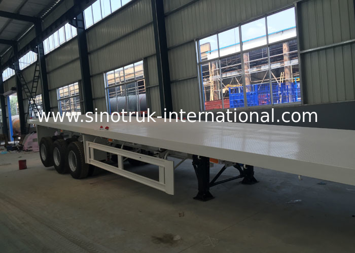 Flatbed Semi Trailer Truck 3 Axles Container Carrying Heavy Equipment Trailer