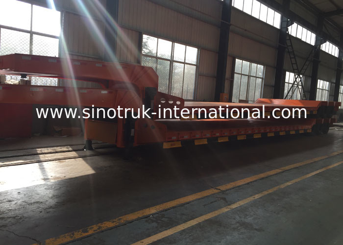 Hydraulic Flatbed Semi Trailer Truck For Construction Loading 80 Tons 17m