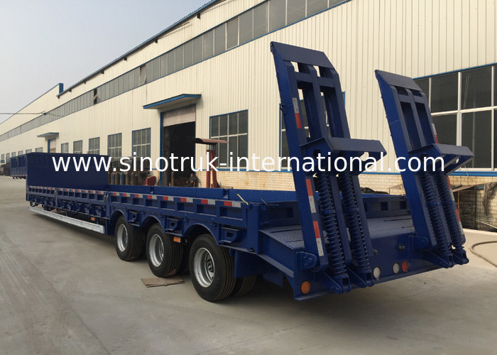 3 Axles 80 Tons 17m Hydraulic Flatbed Trailer For Loading Construction Machines