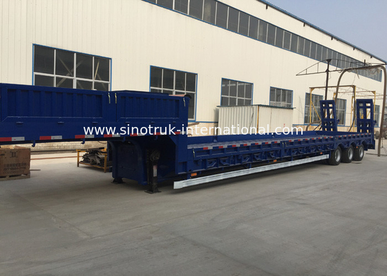China Blue Color Hydraulic Flat Bed Semi Trailer Truck 3 Axles 80t Normal Suspension factory