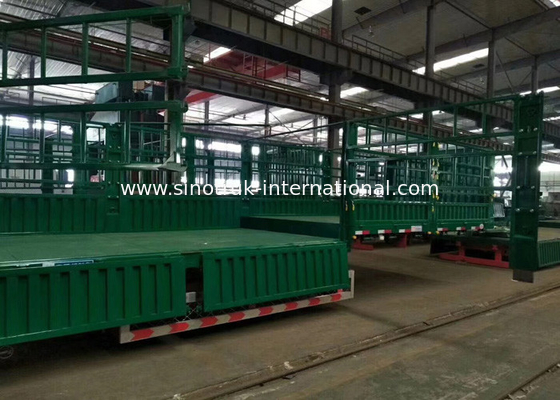 China Transport Carbon Steel Flat Top Semi Trailer 30-60 Tons Semi Grain Trailer factory