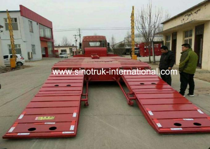Blue Color Hydraulic Flat Bed Semi Trailer Truck 3 Axles 80t Normal Suspension